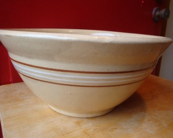 Large Antique Yellow Wear Mixing Bowl
