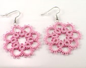 Pink Lace Earrings, Tatted Lace Jewelry, Bridesmaid Earrings, Pink Beaded Earrings, Lace Flower Dangle Earrings, Pink Lace Jewelry, Tatting
