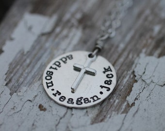 hand stamped, personalized, mothers family necklace with cross