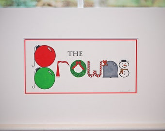 Christmas Holiday Name Art- custom, personalized, hand drawn name art