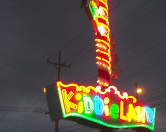 Chicago Photography, Kiddieland, carnival photography, vintage neon sign, children, rainbow, mulitcolored, Signed - KIDDIELAND AT NIGHT