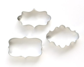 Plaque Cookie Cutter Set - (3 cookie cutters) Wedding Cookie Cutters, Baby Shower, Birthday Party Cookies