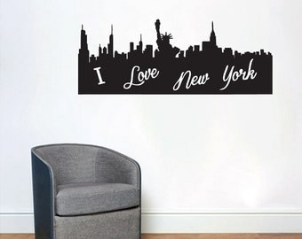 I Love New York City Silhouette   Shapes Wall Decals Part 87