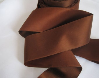 30s Wide Brown ribbon Silk satin ribbon Millinery ribbon Hat ribbon bonnet ribbon fabric ribbon ribbon trim 2 inch wide
