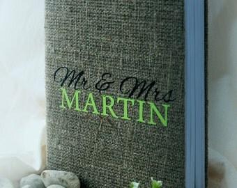 Wedding Guest Book / Wedding Book / Rustic Wedding Guest Book /  Linen Guest Book Mr and Mrs