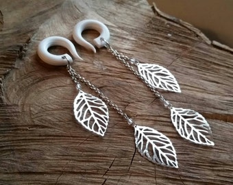 Silver Dancing Leaf Drop Gauged Earrings with Rock Quartz Crystals