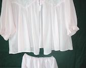 Vintage 1950's BABY DoLL SHORTIE PJ's Nylon Nightgown Nightie Pajama's- Pink Chiffon~Lacy PeterPan Collar~Matching Panties
