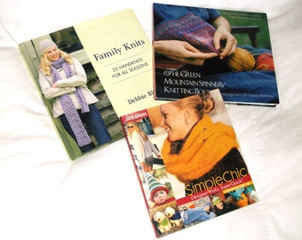 3 Knitting Pattern HB Book Lot • Family Knits -Debbie Bliss • The Green Mountain Spinnery • Simple Chic -Jil Eaton