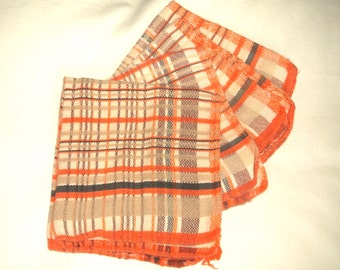 4 Vintage Orange Plaid Dishcloths • 11 inches