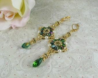 Woven Dangle Earrings Emerald Crystal