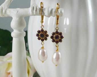 Swarovski Earrings Pearl Teardrops Crystal Links Amethyst