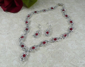 Woven Necklace and Earrings Silver and Red