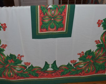 Vintage Christmas Tablecloth with Holly Motif