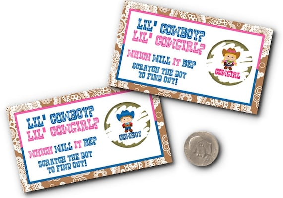 10 Party Scratch Off Cards, Baby Gender Reveal Party, Baby Shower, Cowboy, Cowgirl