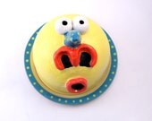 Yellow Monster Butter Dish - Cheese Dish - Cupcake Stand- Ready to Ship
