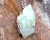 Wire wrapped Rough Aquamarine Stone Pendant Necklace-Rough Aquamarine-wire wrapped-boho style-stone jewelry-Aquamarine stone-Aquamarine