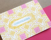 Congratulations Single Letterpress Printed Card with Fuschia Envelope