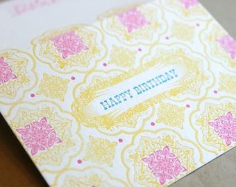 Happy Birthday single letterpress printed card with fuschia envelope