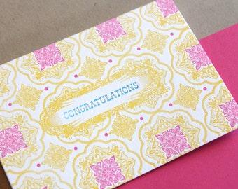 Congratulations Single Letterpress Printed Card with Fuschia Envelope