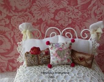 Dollhouse Miniature Love Letter Valentine heart pillow set