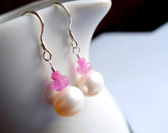pearl earrings with pink sapphires,sterling silver, large luxury freshwater pearls, genuine natural pink sapphire, unique, ooak