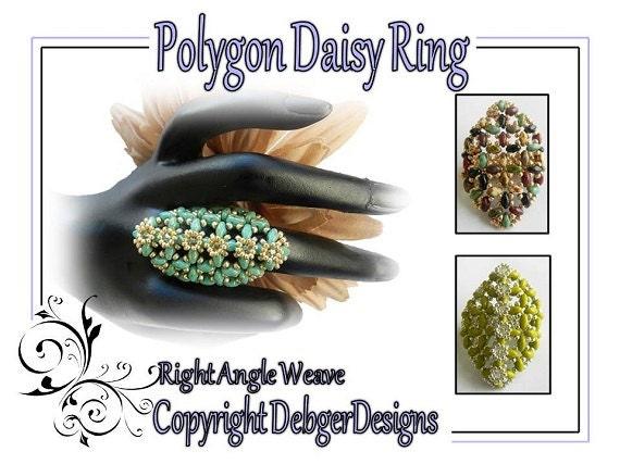 Polygon Daisy Ring -SuperDuo Beading Pattern Tutorial