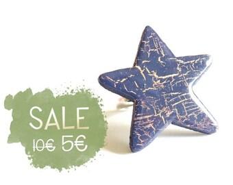 Wooden Star Ring - DEEP BLUE & BRONZE