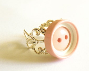 Pastel Button Ring - Plastic Vintage Button on filigree ring base