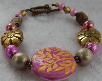 Pink & Gold Flower Bracelet Jewelry Handmade Beaded NEW Women Beaded Fashion