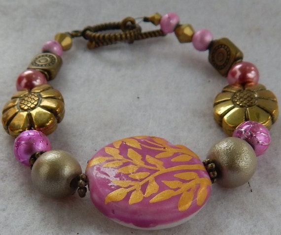 Pink & Gold Flower Bracelet Jewelry Handmade Beaded NEW Women Beaded Fashion