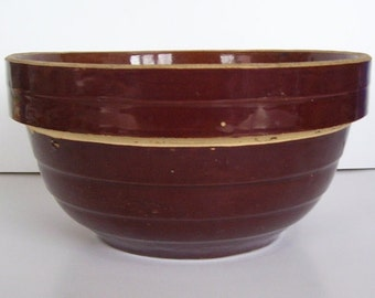 U.S.A. Brown Ironstone Mixing Bowl 9 Inches, Banded Kitchen Pancake Bowl, Depression Kitchen, Country Rustic, Vintage Kitchen, Kitschy Retro