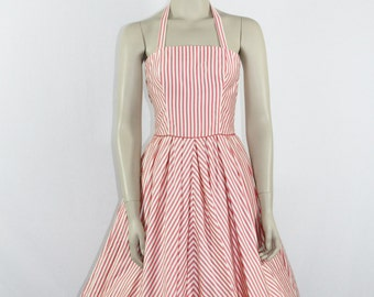 1950s Vintage Dress - Pink and White Striped Halter Full Skirt Party Dress -
