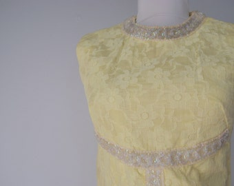 Vintage 1960s Yellow Lace Maxi Dress