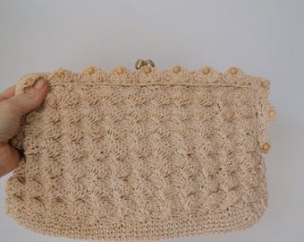Vintage Ecru 1950s Atnique Something Old Crocheted Clutch
