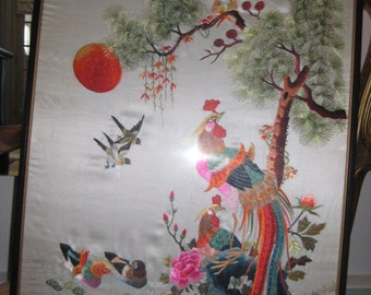 40's Vintage Silk Embroidered Wall Art Oriental Wall Art