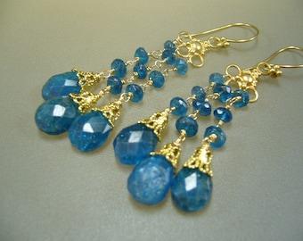 Neon Apatite Gold Wire Wrapped Chandelier Earrings