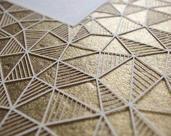 Featured in Martha Stewart Weddings: Ketubah Papercut by Jennifer Raichman - Geometric - Metallic Gold