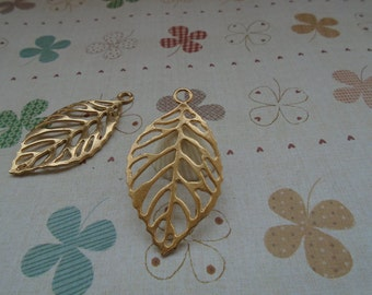 20pcs 50mmx27mm Tree Leaf  Gold Plated Retro Pendant Charm For Jewelry Pendant