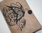Musical Butterfly embroidered book cover
