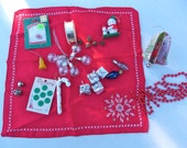 Christmas Destash Christmas Assemblage Altered Art Mixed Media Supplies Handmade Christmas Ornament