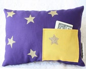 Tooth Fairy Pillow - Tooth Fairy Gift for Kids - Purple Pillow with Pocket