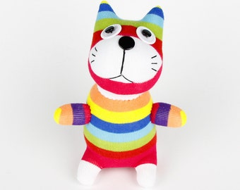 New year Gift Handmade Sock Cat Kitty Stuffed Animal Doll Baby Toys