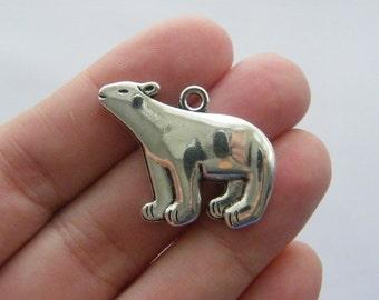 2 Polar bear charms  antique silver tone A419