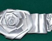 Silver Ribbon Flower cinch belt - 2 inch wide elastic stretch corset belt, stretch belt - ribbon belt - one size