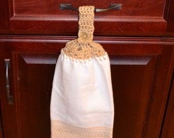 crochet top kitchen towel -  White w/Tan ( Beige)