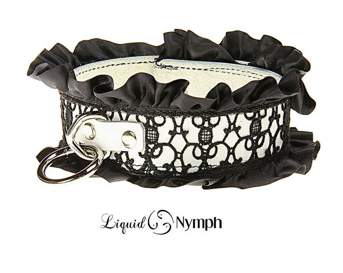 Featured listing image: BDSM Collar French Maid White Leather Slave & Black Lace Satin Ruffle Dog Kitty Fetish  Gothic Kink Kitten Play DDLG Valentine's Gift