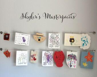 Personalized Masterpieces Script Decal - Children Artwork Display Decal - Custom Script Name - Medium 2