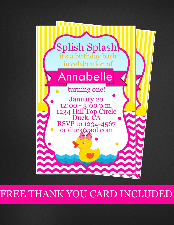 Duck birthday invitation birthday birthday free thank you card zoom stopboris Image collections