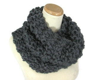 Sale Chunky Cowl, Outlander Inspired Cowl, Gift Idea For Her, Hand Knit Cowl, Circle Scarf, Charcoal Gray Christmas, Women, Winter Scarf