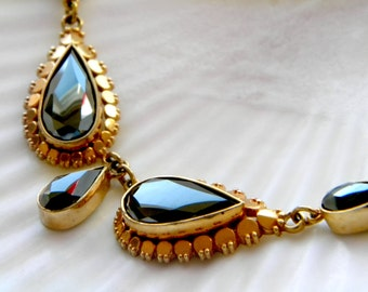 RGP rolled gold rose gold filled hematite lavalier necklace - vintage jewelry